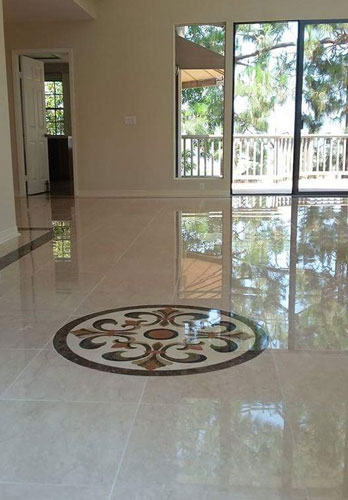 Marble floor installation Newport Coast, CA.