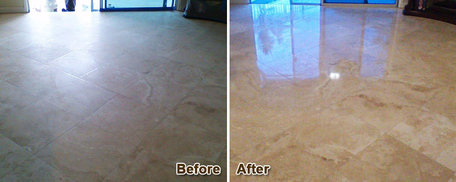 Travertine Stone Floor Polishing